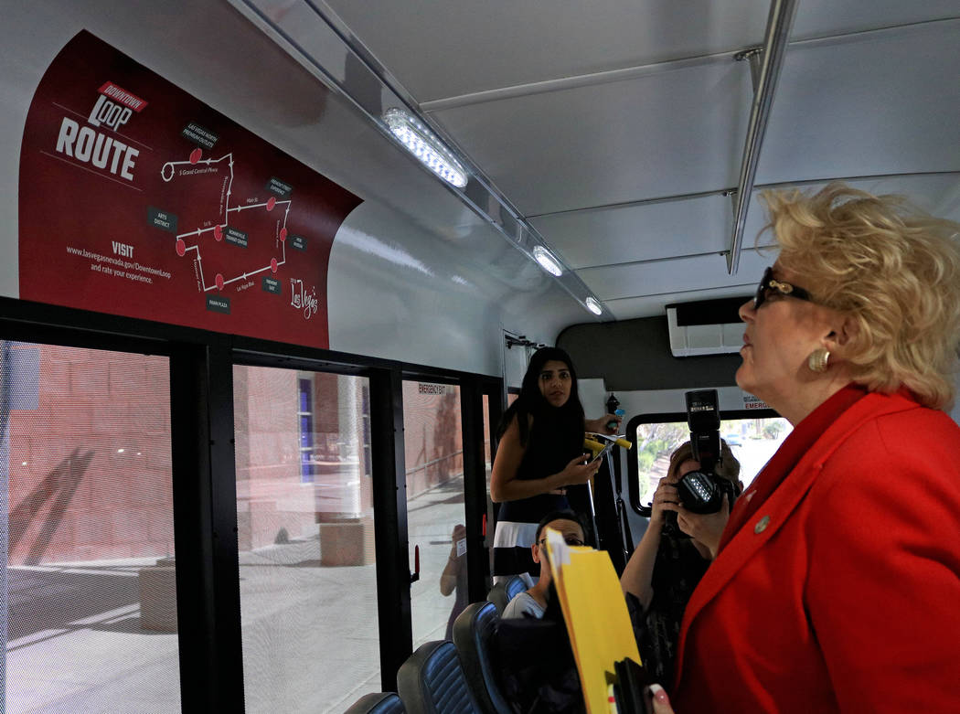 Mayor Carolyn Goodman looks at the Downtown Loop map inside one of the shuttles, Tuesday, June, 27 2017. Gabriella Benavidez Las Vegas Review-Journal @latina_ish