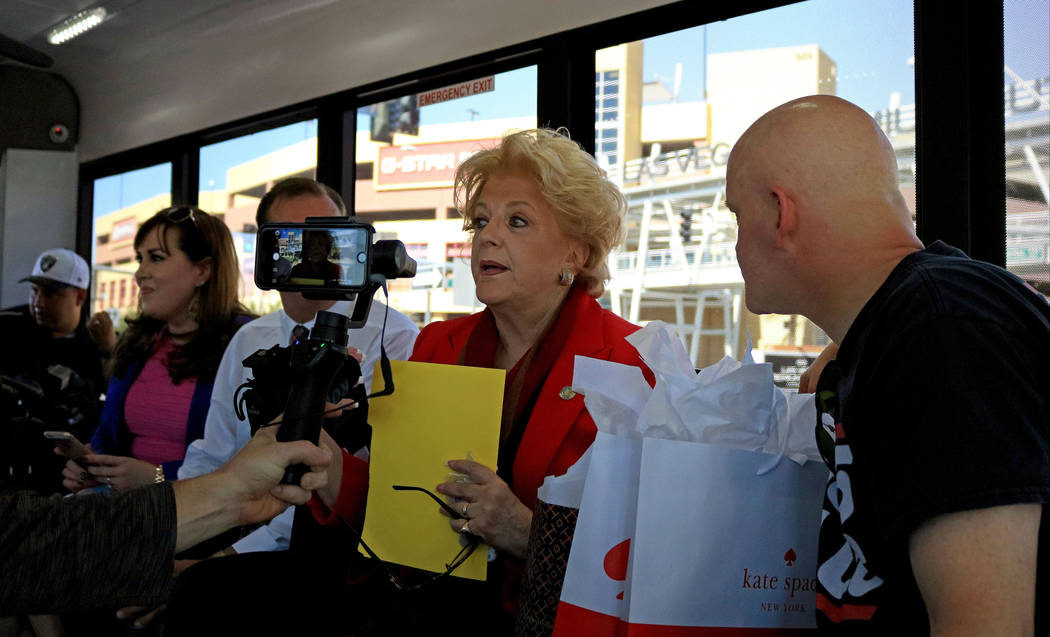 Mayor Carolyn Goodman, center, does a Facebook Live video with Morning Zoo radio show host Chet Buchanan during the Downtown Loop shuttle launch, Tuesday, June, 27 2017. Gabriella Benavidez Las Ve ...
