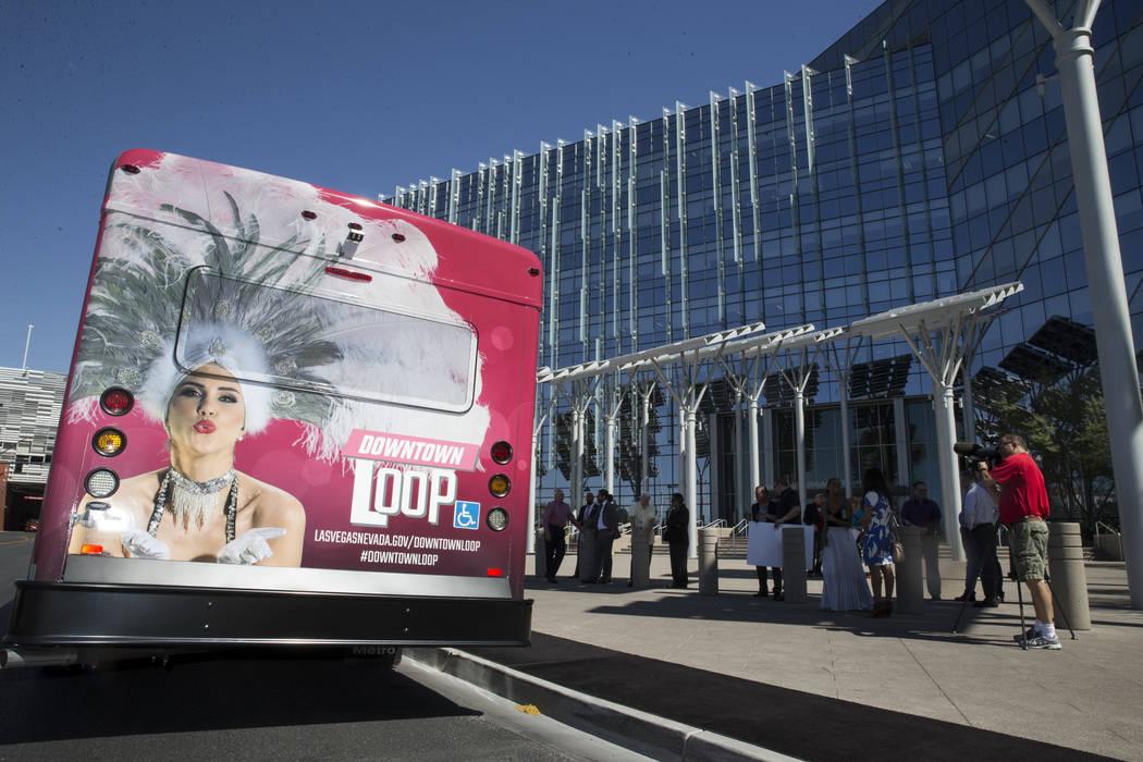 A Downtown Loop shuttle bus at Las Vegas City Hall during a media event celebrating the new free service in Las Vegas, Tuesday, June 27, 2017. Erik Verduzco Las Vegas Review-Journal @erik_verduzco