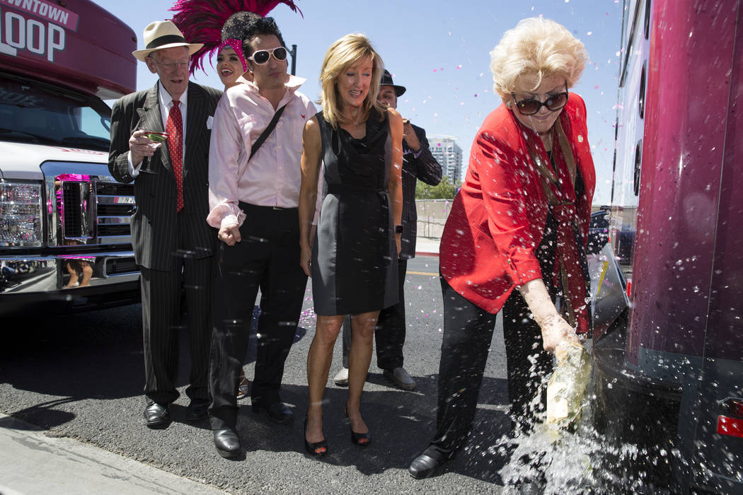 Las Vegas Mayor Carolyn Goodman, right, during a celebration ceremony for the new Downtown Loop shuttle bus at Las Vegas City Hall in Las Vegas, Tuesday, June 27, 2017. {photog Las Vegas Review-Jo ...