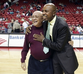 Jerry Tarkanian gets a hug from Greg Anthony following a alumni game Tuesday, November 7, 2006, at the Thomas and Mack Center