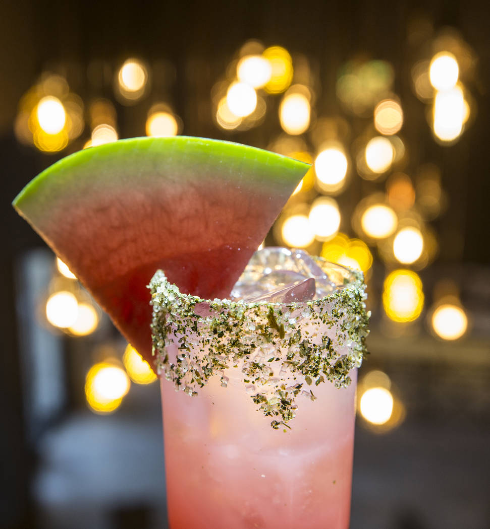 Kiss My Mellons, with Effen cucumber vodka, Chareau aloe liqueur, lustau manzanilla sherry, watermelon limeade and soda at The Other Room at The Forum Shops on Wednesday, June 21, 2017, at Caesars ...