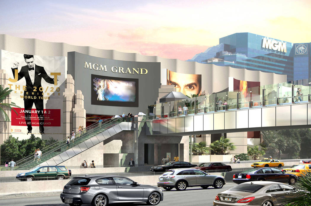A rendering of the connector bridge on Tropicana Avenue between MGM Grand and Tropicana Las Vegas on the Las Vegas Strip. (Nevada Department of Transportation)