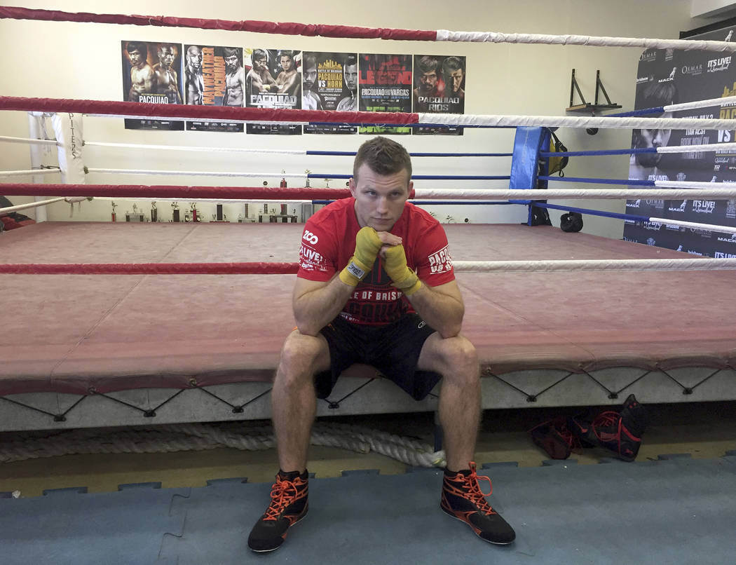 Boxer Jeff Horn poses for a photo in a gym in Brisbane, Australia, Monday, June 26, 2017. Horn is preparing for his WBO welterweight world boxing title bout against Filipino Manny Pacquiao on Sund ...