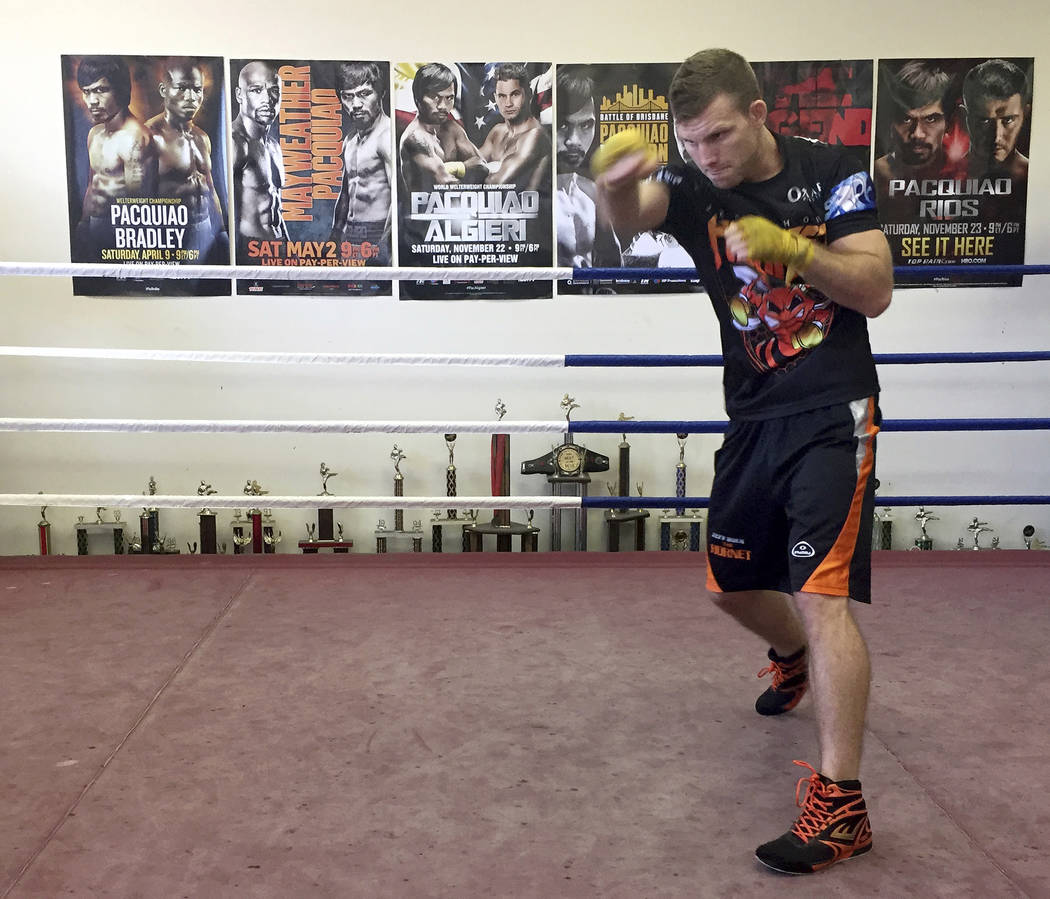 Boxer Jeff Horn trains in a gym in Brisbane, Australia, Monday, June 26, 2017. Horn is preparing for his WBO welterweight world boxing title bout against Filipino Manny Pacquiao on Sunday, July 2. ...