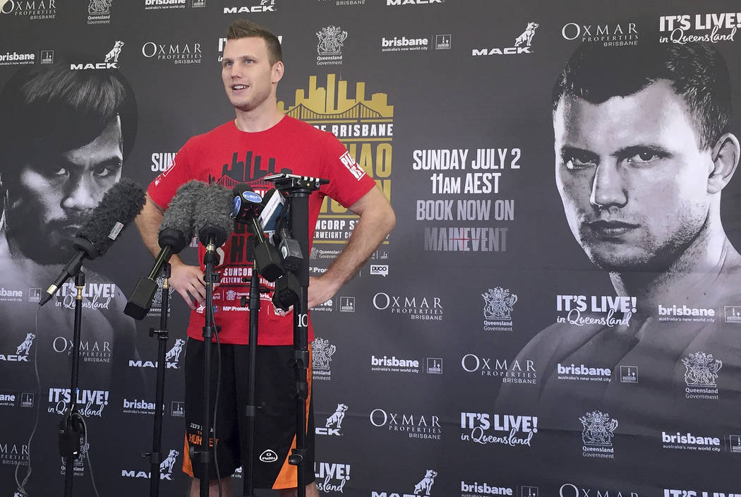 Boxer Jeff Horn speaks to the media in a gym in Brisbane, Australia, Monday, June 26, 2017. Horn is preparing for his WBO welterweight world boxing title bout against Filipino Manny Pacquiao on Su ...