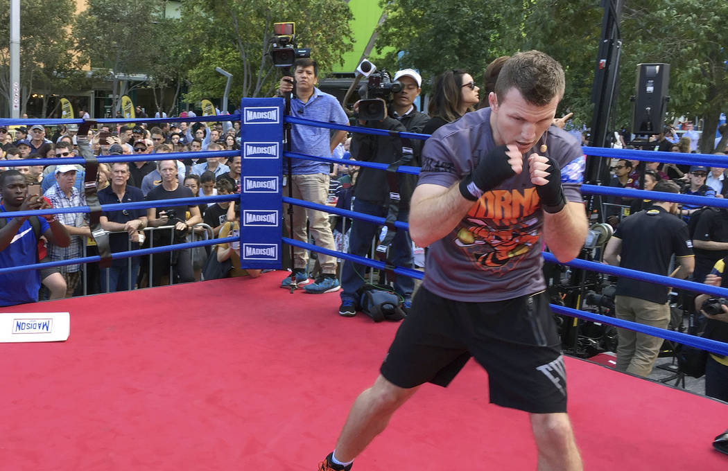 Australian boxer Jeff Horn trains in front of the public in a mall in Brisbane, Australia, Thursday, June 29, 2017. Horn is preparing for his WBO welterweight world title bout against Filipino Man ...
