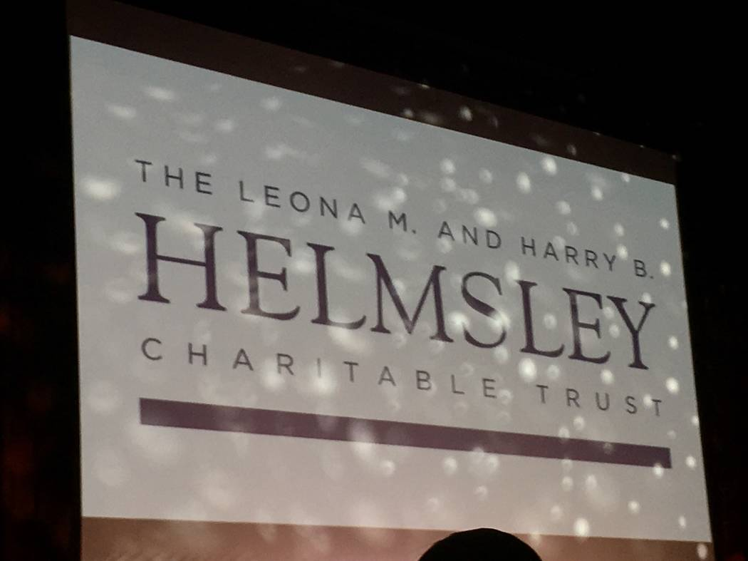 The sign above the stage at Tropicana Theater tells the story, as the Helmsley Charitable Trust dropped a $275,000 donation to Golden Rainbow on Sunday, June 25, 2017.