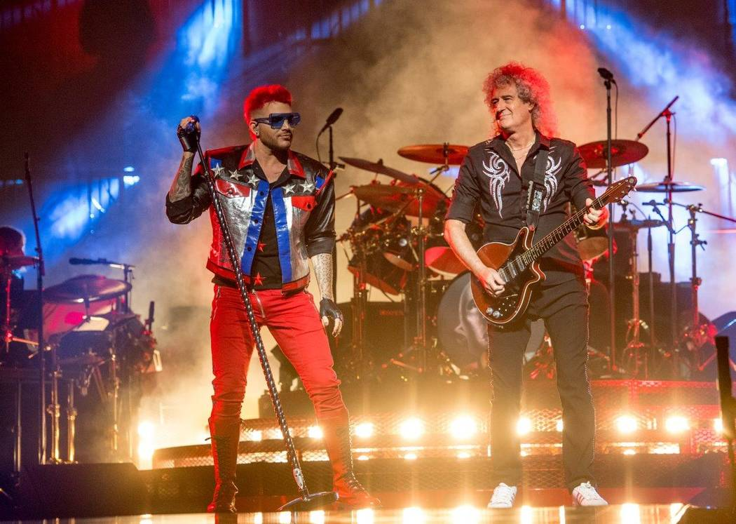 Queen guitarist Brian May and Adam Lambert perform at the T-Mobile Arena June 24.  (Tom Donoghue)