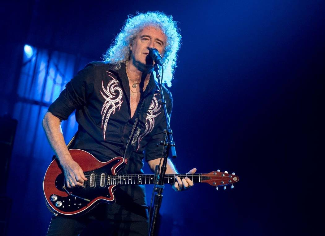 Queen guitarist Brian May at the T-Mobile Arena June 24.  (Tom Donoghue)