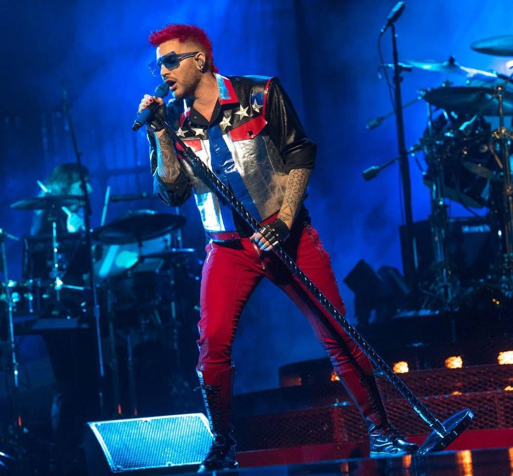 Adam Lambert performs with Queen at the T-Mobile Arena June 24.  (Tom Donoghue)
