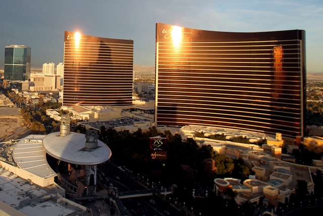 The Encore and Wynn Las Vegas taken from on top of Treasure Island hotel/casino on Friday, Dec. 30, 1011. Wynn Resort Ltd shares fell after the gaming company's largest shareholder and vice chairm ...