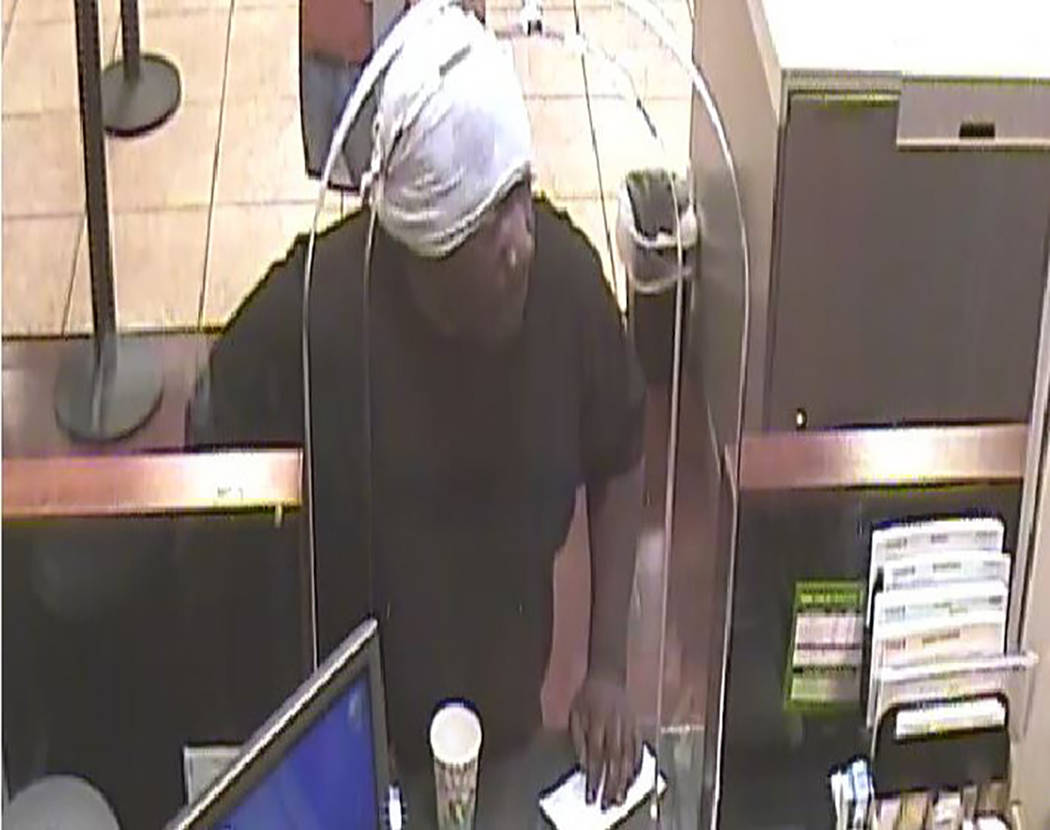 Police are searching for a man who they say tried to rob a bank Monday near East Flamingo Road and Maryland Parkway. (Las Vegas Metropolitan Police Department)