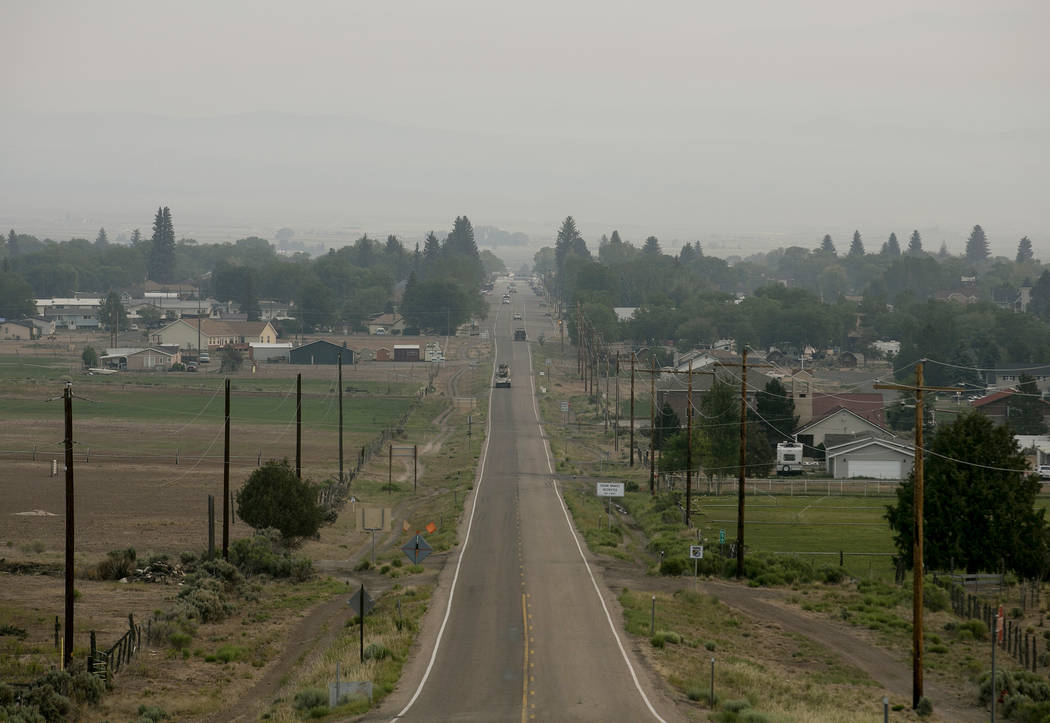 A haze is casted over the city of Panguitch, Utah, located east from burn of the Brian Head Fire as seen on the morning of Tuesday, June 27, 2017. Bridget Bennett Las Vegas Review-Journal @bridget ...