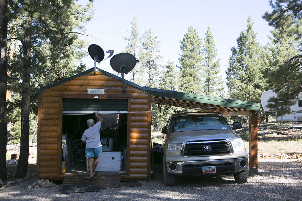 Henderson resident Terri Corrado opens the garage at her and Mary Stengel's, not pictured, second home at Duck Creek Village, Utah on Tuesday, June 27, 2017. Bridget Bennett Las Vegas Review-Journ ...