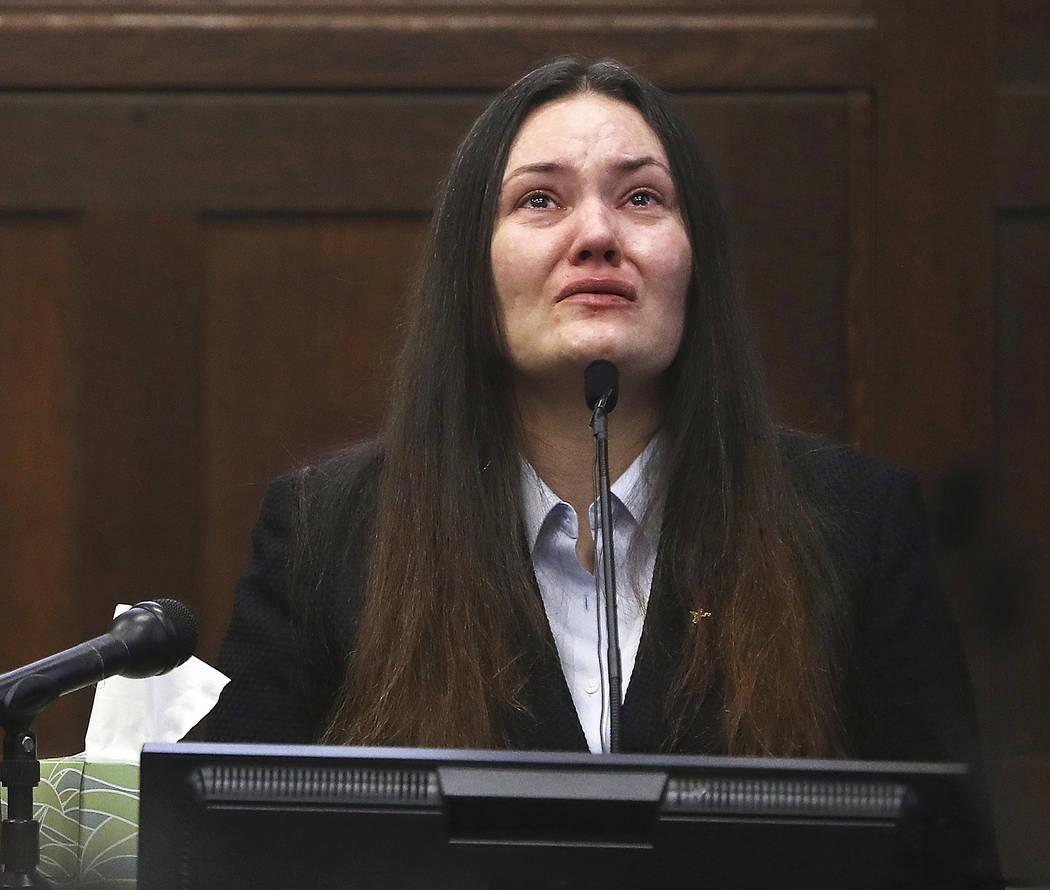 Rachelle Bond testifies in Suffolk Superior Court in Boston on Monday, June 5, 2017. (Pat Greenhouse/The Boston Globe via AP, Pool, File)