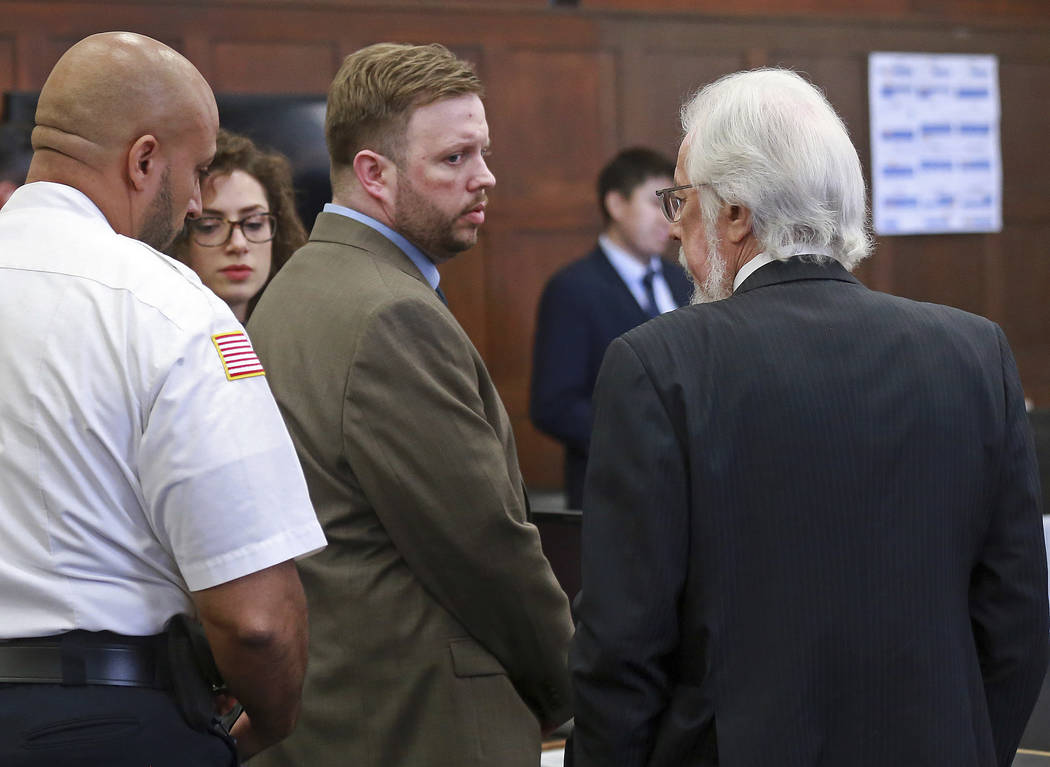 Defendant Michael P. McCarthy looks at his attorney Jonathan Shapiro after a guilty of second degree murder against him at Suffolk Superior Court on Monday, June 26, 2017. (Matt West/The Boston He ...