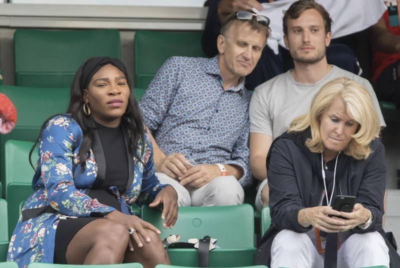 Jun 2, 2017; Paris, France; Serena Williams (USA) and  Jill Smoller in attendance for the Venus Williams (USA) and Elise Mertens (BEL) (not pictured) match on day six of the 2017 French Open tenni ...