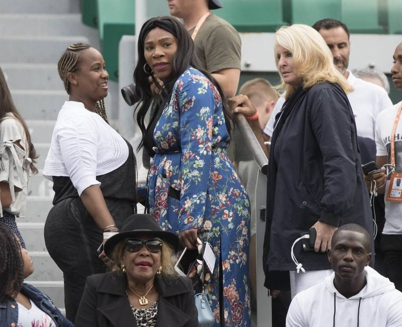 Jun 2, 2017; Paris, France; Serena Williams (USA), Jill Smoller and Oracene Price in attendance for the Venus Williams (USA) and Elise Mertens (BEL) (not pictured) match on day six of the 2017 Fre ...