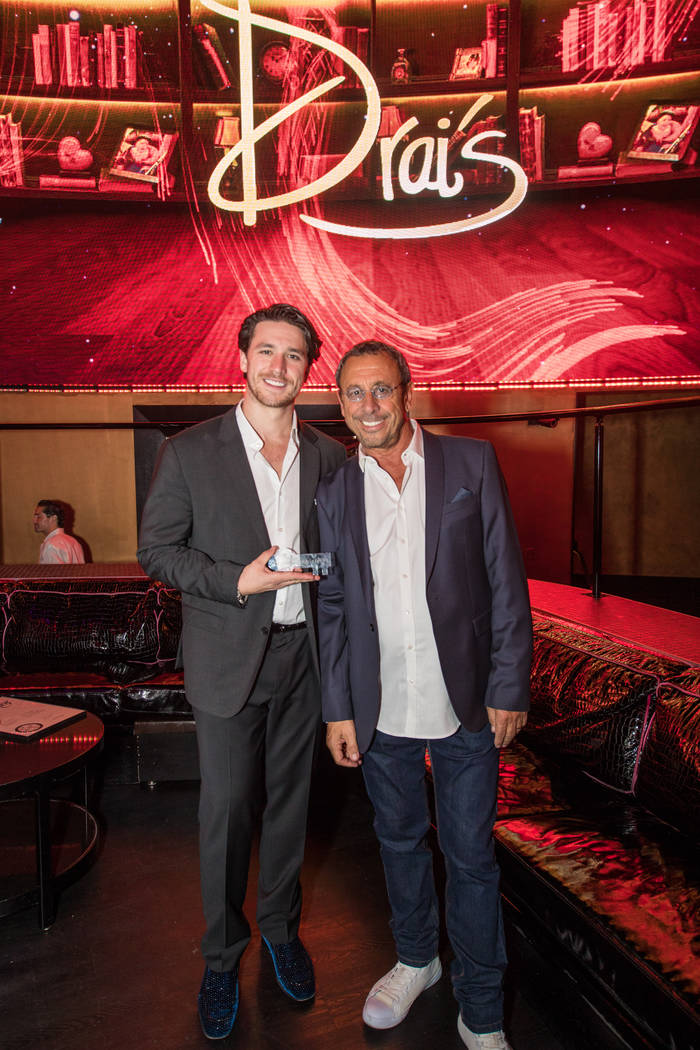 Victor Drai and his son, Dustin, celebrate the 20th anniversary of Drai's After Dark at The Cromwell on Sunday, June 25, 2017. (Tony Tran)