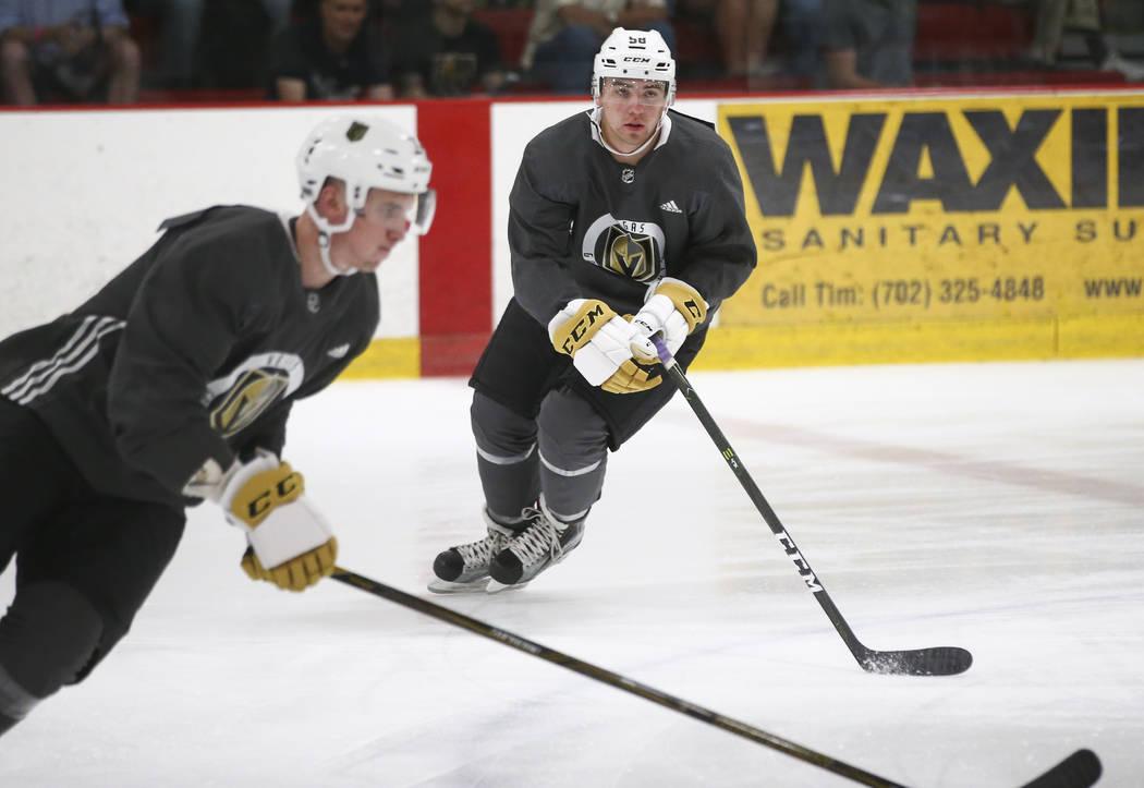 Vegas Golden Knights' Jack Dugan during the team's development camp at Las Vegas Ice Center on Tuesday, June 27, 2017. Chase Stevens Las Vegas Review-Journal @csstevensphoto