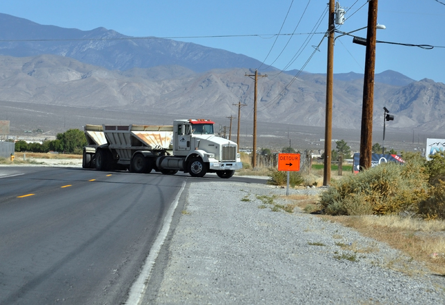A truck takes a detour around roundabout construction in Pahrump. (Horace Langford Jr. / Pahrump Valley Times)