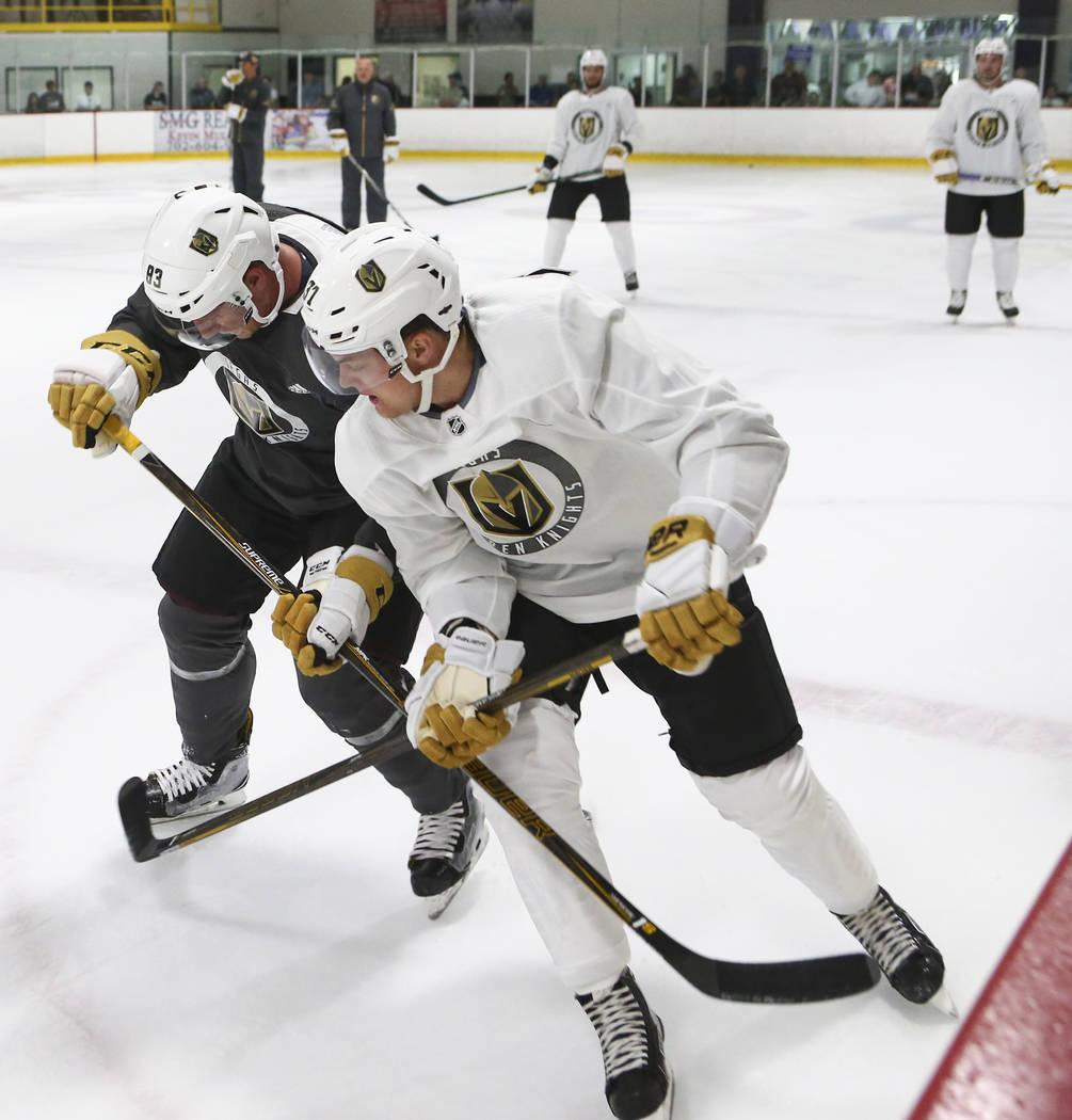 Vegas Golden Knights' Reid Duke, right, and Darian Romanko during the team's development camp at Las Vegas Ice Center on Tuesday, June 27, 2017. Chase Stevens Las Vegas Review-Journal @csstevensphoto