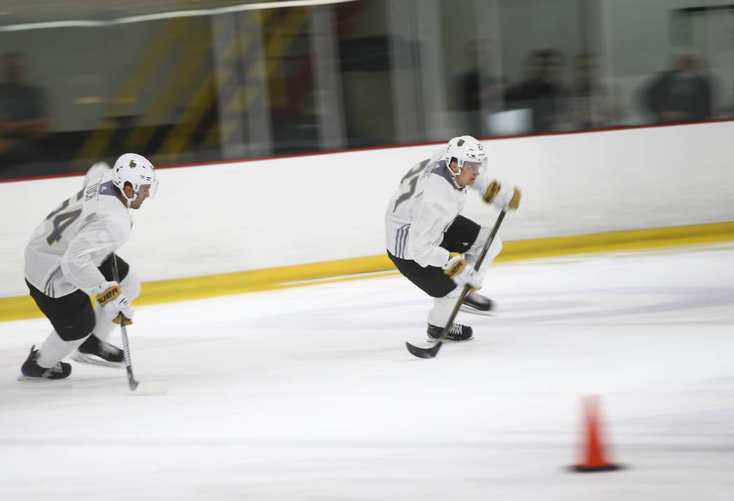 Vegas Golden Knights' Reid Duke, right, during the team's development camp at Las Vegas Ice Center on Tuesday, June 27, 2017. Chase Stevens Las Vegas Review-Journal @csstevensphoto