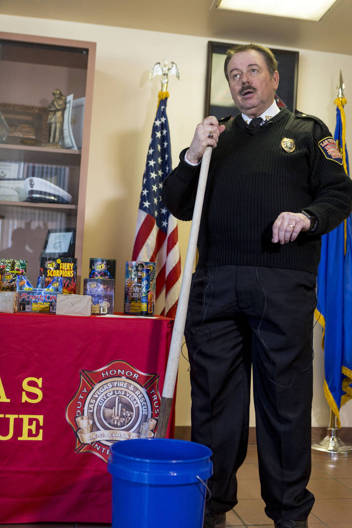 Spokesman Tim Szymanski gives a media safety briefing about fireworks at the Las Vegas Fire Department headquarters on Tuesday, June 27, 2017. Elizabeth Brumley Las Vegas Review-Journal