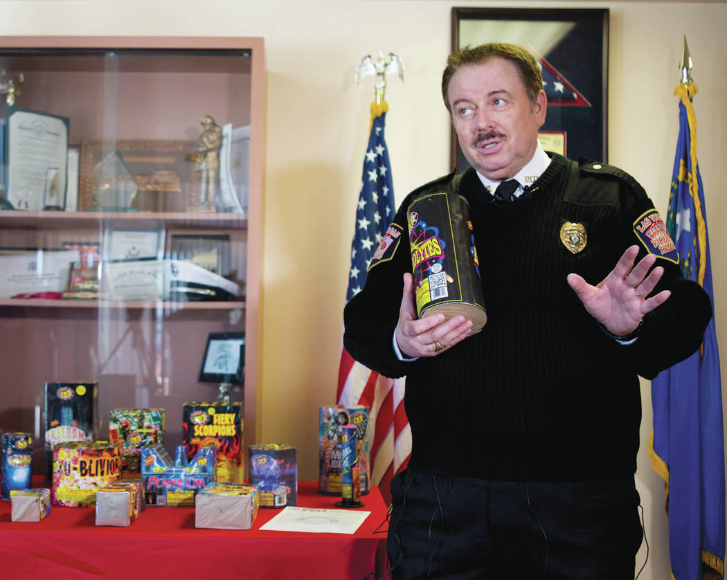 Tim Szymanski, Las Vegas Fire and Rescue public information officer, gives a media safety briefing about fireworks at the Las Vegas Fire and Rescue headquarters in Las Vegas, Tuesday, June 27, 201 ...