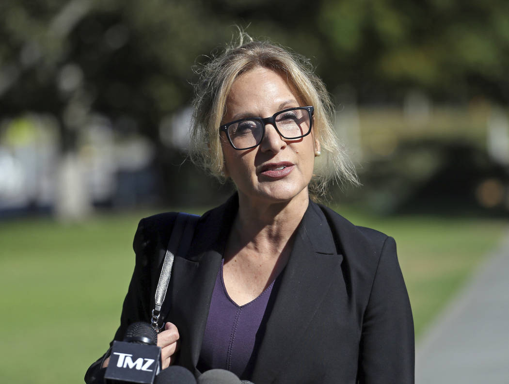 Angela Agrusa, attorney for entertainer Bill Cosby, who is accused of sexual assault by Judy Huth at the Playboy Mansion more than 40 years ago, speaks outside Los Angeles Superior Court after a h ...