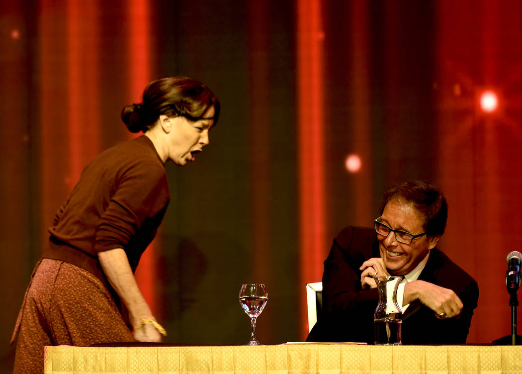 Kelly Clinton channels Ruth Buzzy to help abuse Dennis Bono during his Celebrity Roast. (Glenn Pinkerton/Las Vegas News Bureau)