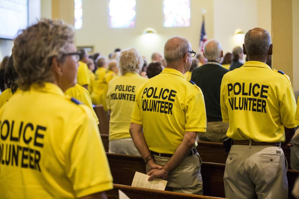 "Fellow Metropolitan Police volunteers at the service for Richard ""Dick"" Bennett, a Metropolitan Police volunteer with over 20,000 hours of service, at the Mountain View Presbyter ..."
