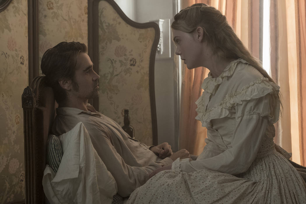 Colin Farrell as John McBurney and Elle Fanning as Alicia in Focus Features' atmospheric thriller The Beguiled, written for the screen and directed by Sofia Coppola. Ben Rothstein  Focus Features