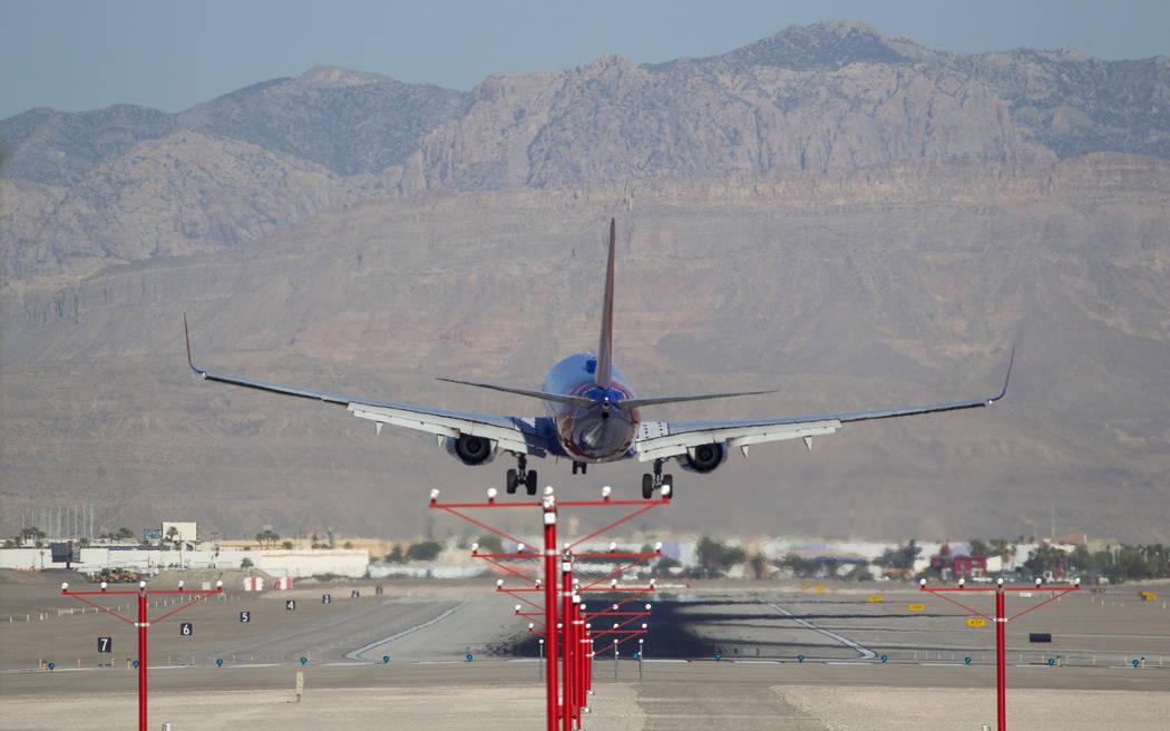 A Southwest Airlines jetliner lands at McCarran International Airport in Las Vegas on Wednesday, June 28, 2017. Richard Brian Las Vegas Review-Journal @vegasphotograph
