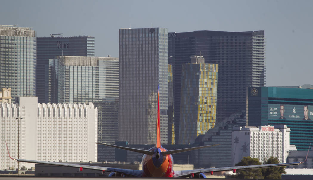 A Southwest Airlines jetliner taxis the runway at McCarran International Airport in Las Vegas on Wednesday, June 28, 2017. Richard Brian Las Vegas Review-Journal @vegasphotograph