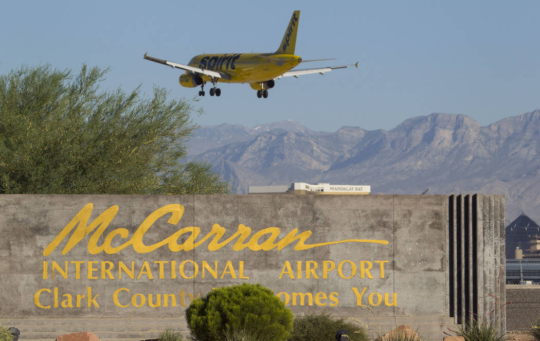 A Spirit Airlines jetliner makes its approach to McCarran International Airport in Las Vegas on Wednesday, June 28, 2017. Richard Brian Las Vegas Review-Journal @vegasphotograph