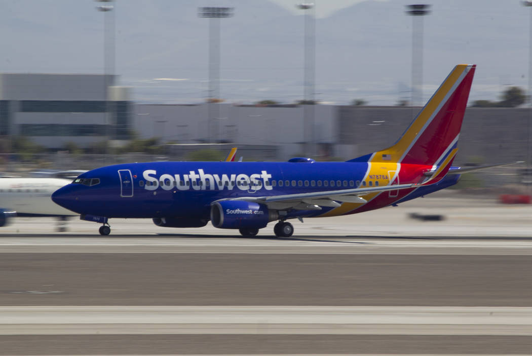 A Southwest Airlines jetliner departs McCarran International Airport in Las Vegas on Wednesday, June 28, 2017. Richard Brian Las Vegas Review-Journal @vegasphotograph