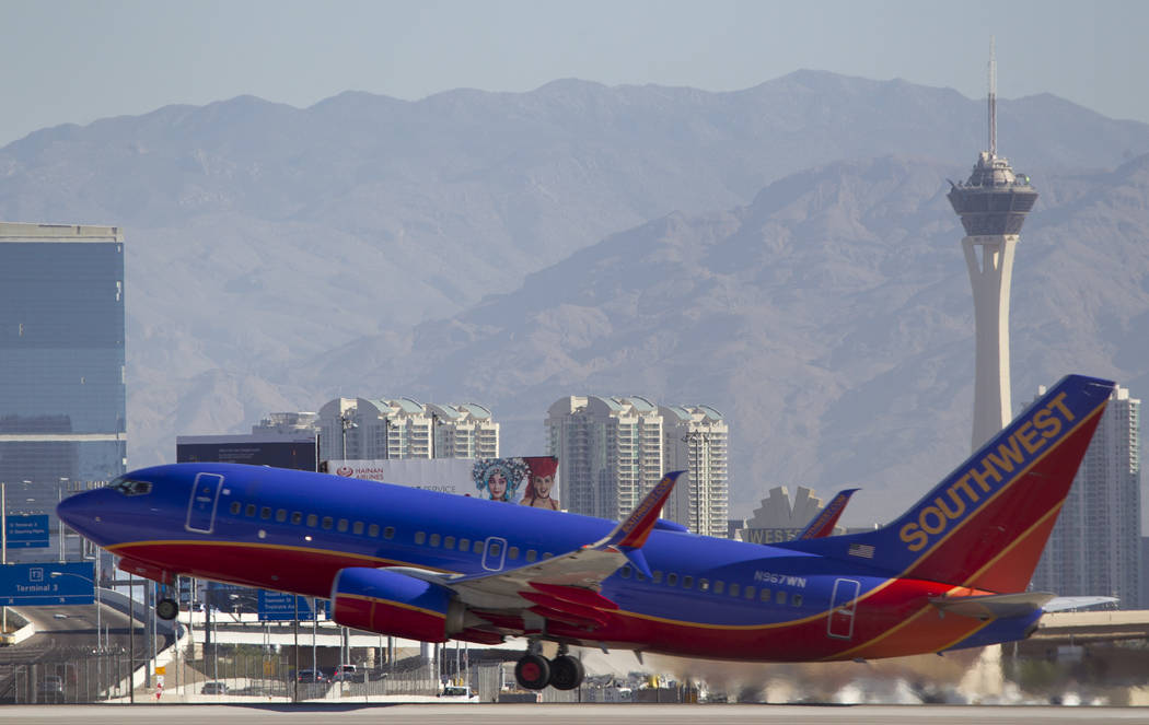 A Southwest Airlines jetliner departs from McCarran International Airport in Las Vegas on Wednesday, June 28, 2017. Richard Brian Las Vegas Review-Journal @vegasphotograph