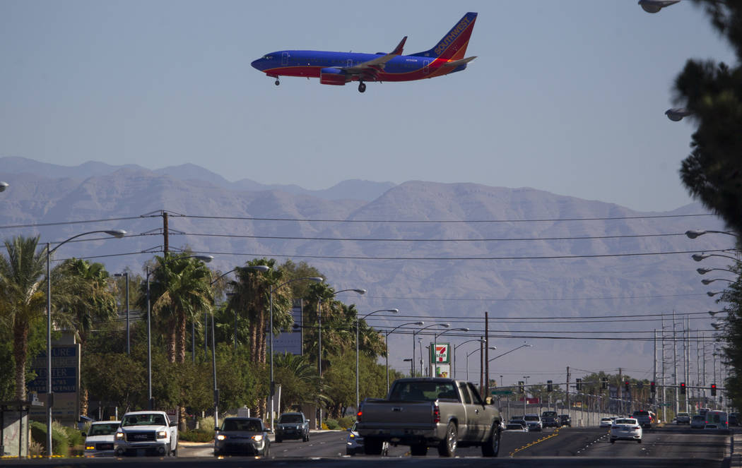 A Southwest Airlines jetliner makes its approach to McCarran International Airport in Las Vegas on Wednesday, June 28, 2017. Richard Brian Las Vegas Review-Journal @vegasphotograph