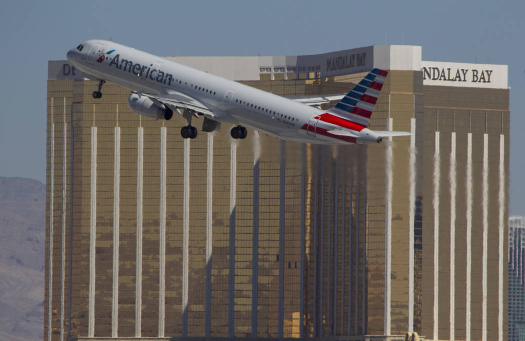 An American Airlines jetliner departs from McCarran International Airport in Las Vegas on Wednesday, June 28, 2017. Richard Brian Las Vegas Review-Journal @vegasphotograph