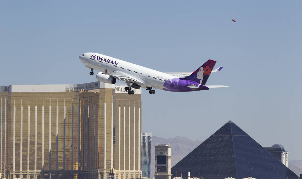 A Hawaiian Airlines jetliner departs from McCarran International Airport in Las Vegas on Wednesday, June 28, 2017. Richard Brian Las Vegas Review-Journal @vegasphotograph