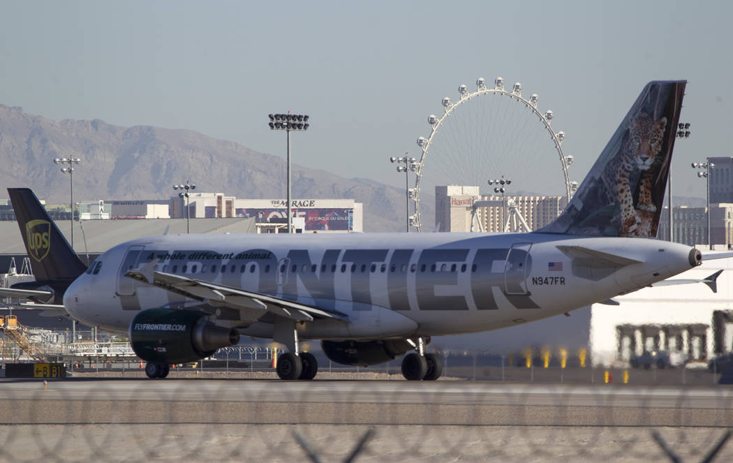 A Frontier Airlines jetliner taxis the runway at McCarran International Airport in Las Vegas on Wednesday, June 28, 2017. Richard Brian Las Vegas Review-Journal @vegasphotograph