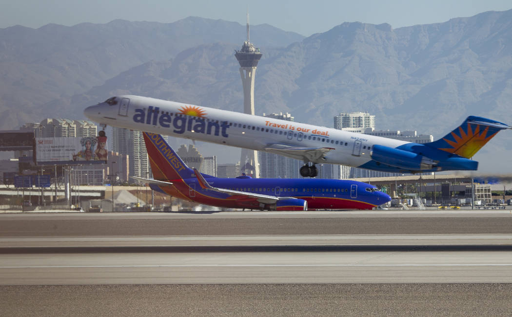 An Allegiant Air jetliner departs from McCarran International Airport in Las Vegas on Wednesday, June 28, 2017. Richard Brian Las Vegas Review-Journal @vegasphotograph