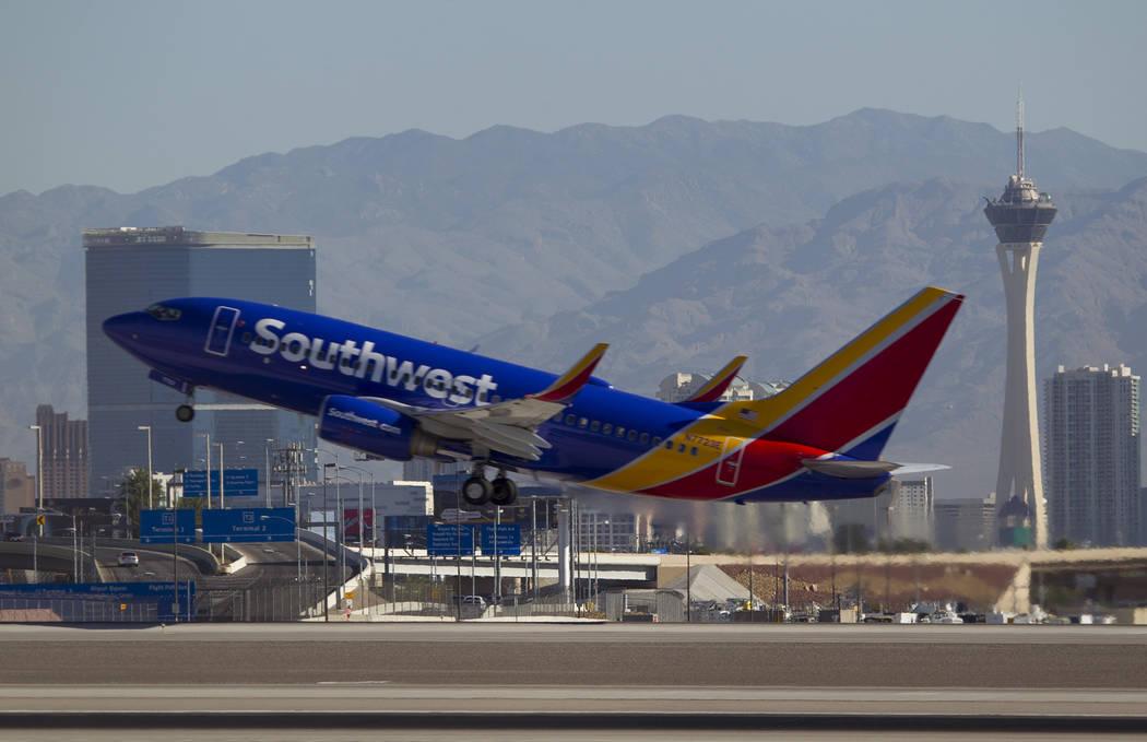A Southwest Airlines jetliner departs from McCarran International Airport in Las Vegas on Wednesday, June 28, 2017. Richard Brian Las Vegas Review-Journal @vegasphotograph