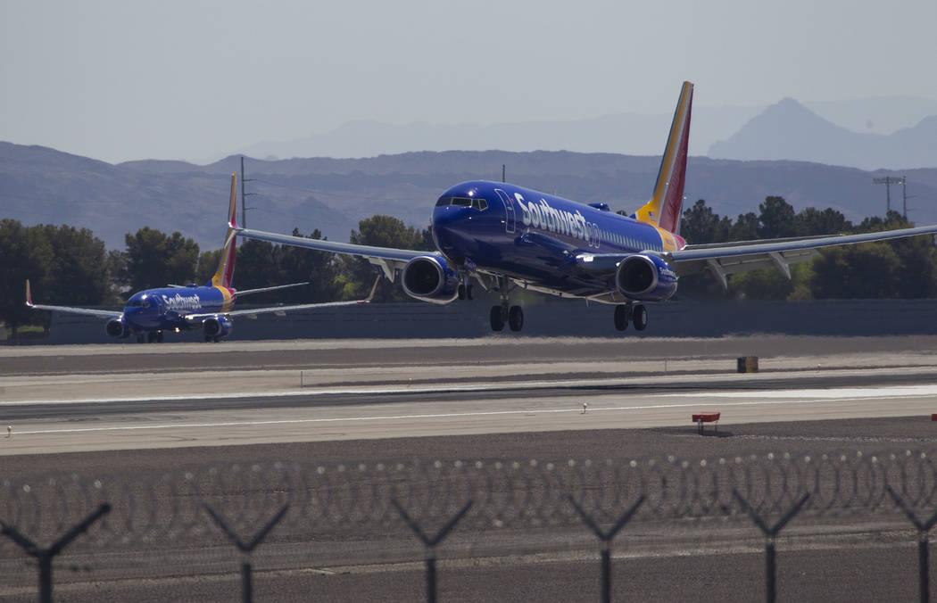 A Southwest Airlines jetliner lands at McCarran International Airport in Las Vegas on Wednesday, June 28, 2017. Richard Brian Las Vegas Review-Journal @vegasphotograph