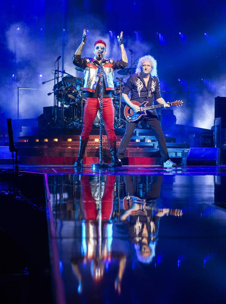 Adam Lambert, left, and Queen guitarist Brian May perform on Saturday, June 24, 2017, at T-Mobile Arena, in Las Vegas. Benjamin Hager Las Vegas Review-Journal @benjaminhphoto