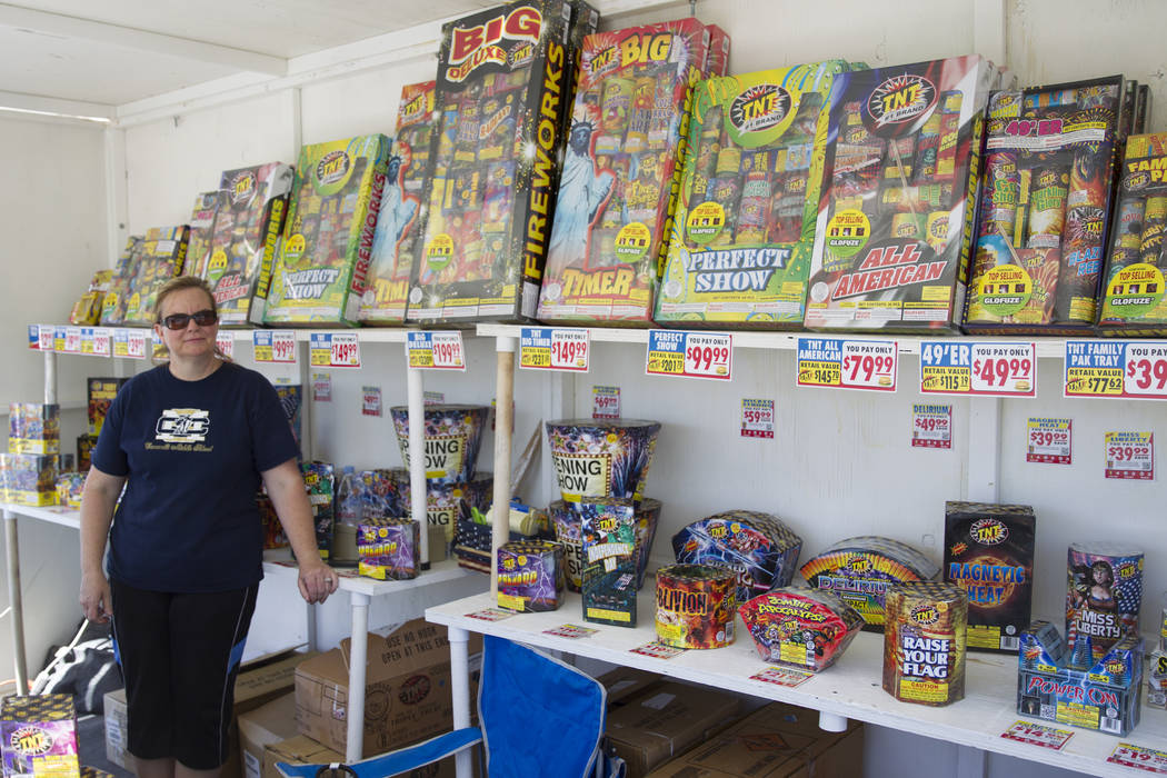 Canarelli Middle School teacher Amy Rannazzisi works a fireworks stand during an inspection by fire inspectors with the Clark County fire prevention team in Las Vegas, Wednesday, June 28, 2017. (E ...