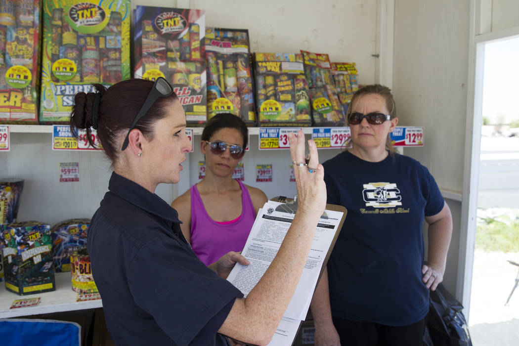 Canarelli Middle School teachers Samantha Barry, center, and Amy Rannazzisi, right, during a fireworks stand inspection by Amanda Wildermuth, Clark County fire prevention inspector, in Las Vegas,  ...
