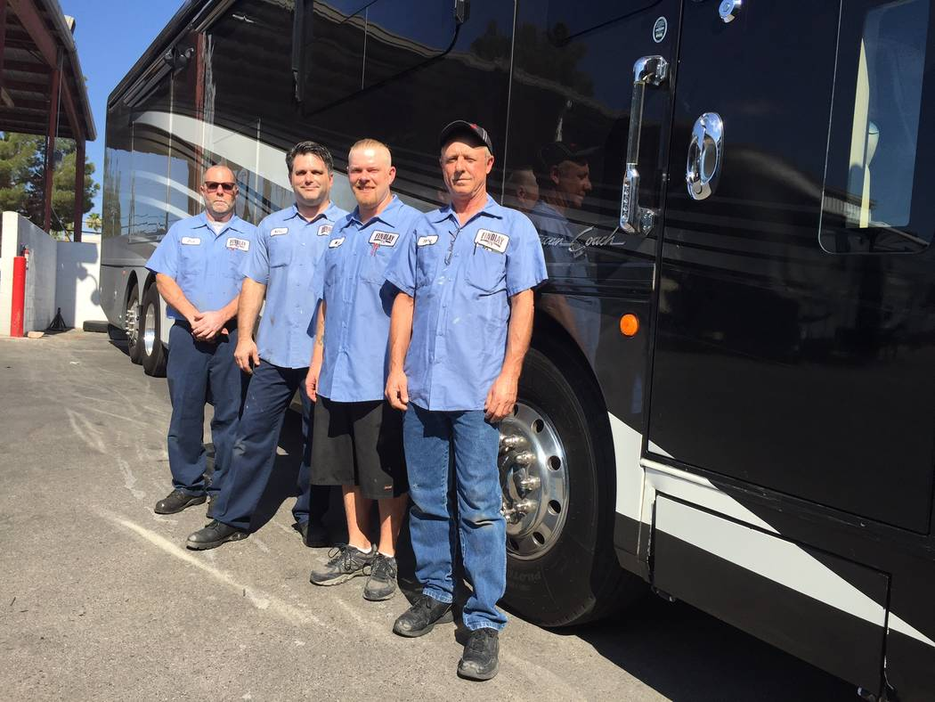 Findlay RV From left, Findlay RV master certified technicians Jack Hunt, Neil Kaderly, Mike Polier and Terry Motley await customers.